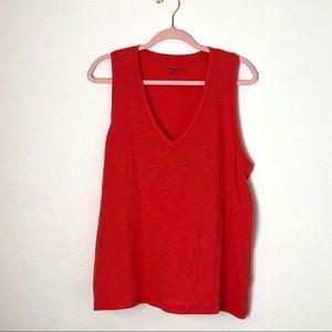 NWOT Madewell V neck T shirt bright poppy coral
